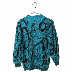 Vintage Abstract Design Sweater Blue Black Small